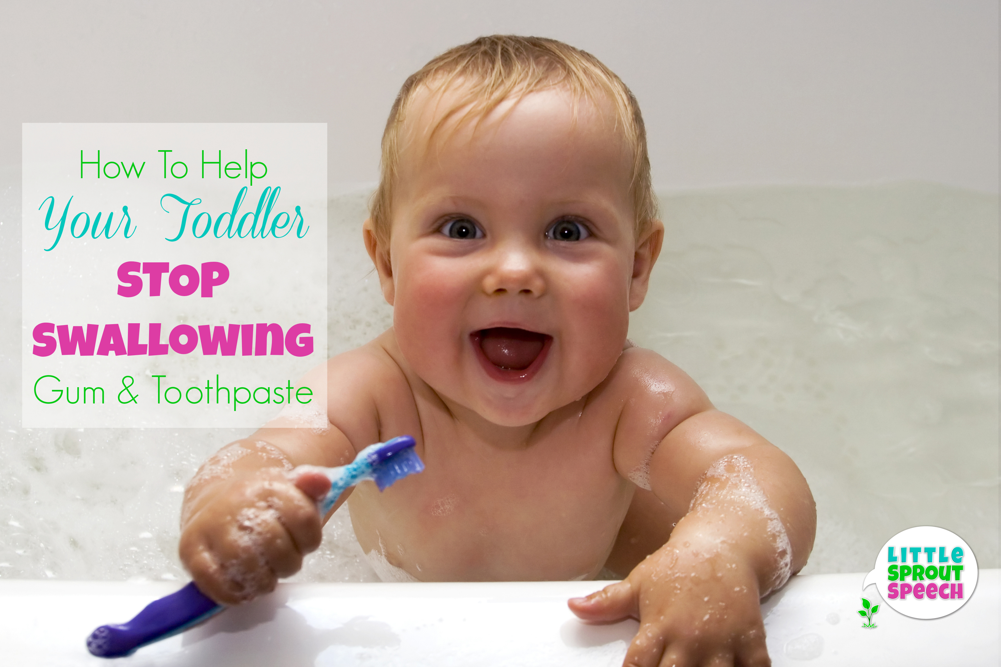 Smiling baby with toothbrush