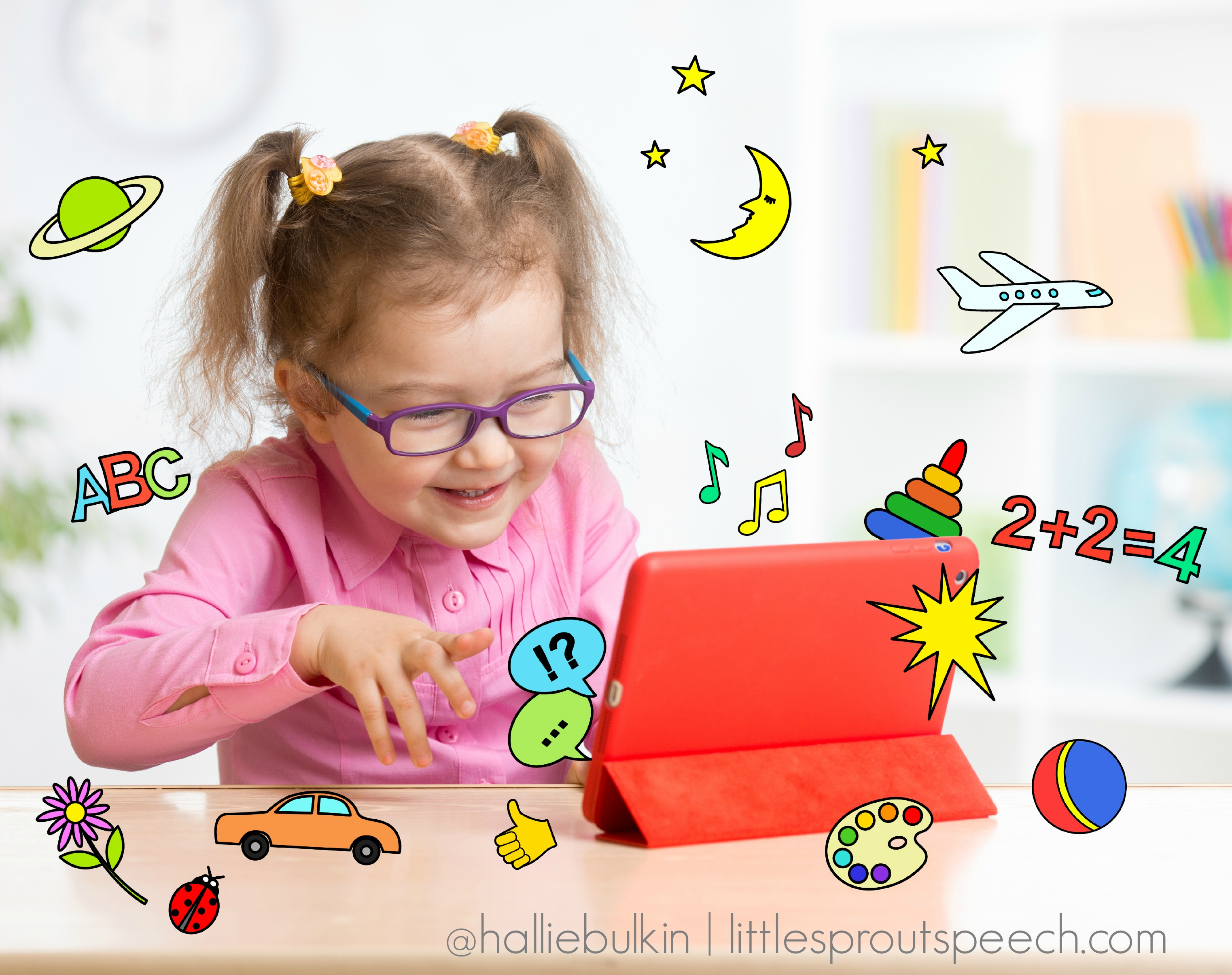Kid with tablet computer in glasses. Early education. iPad AAC